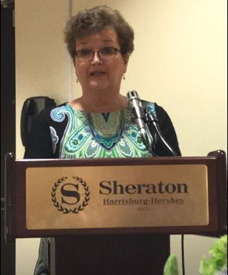 Incoming President Sherry Kowalczyk Podium